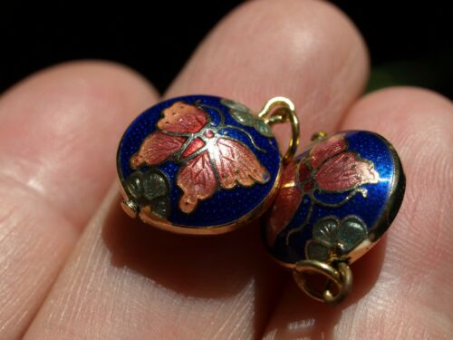 Vintage Chinese Cloisonné Enamel Double Sided Charm Pendant Butterfly Blue 13mm