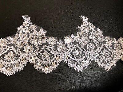 White Border Trim (White Floral Lace Trim With Sequins Bridal Wedding Dress Border)