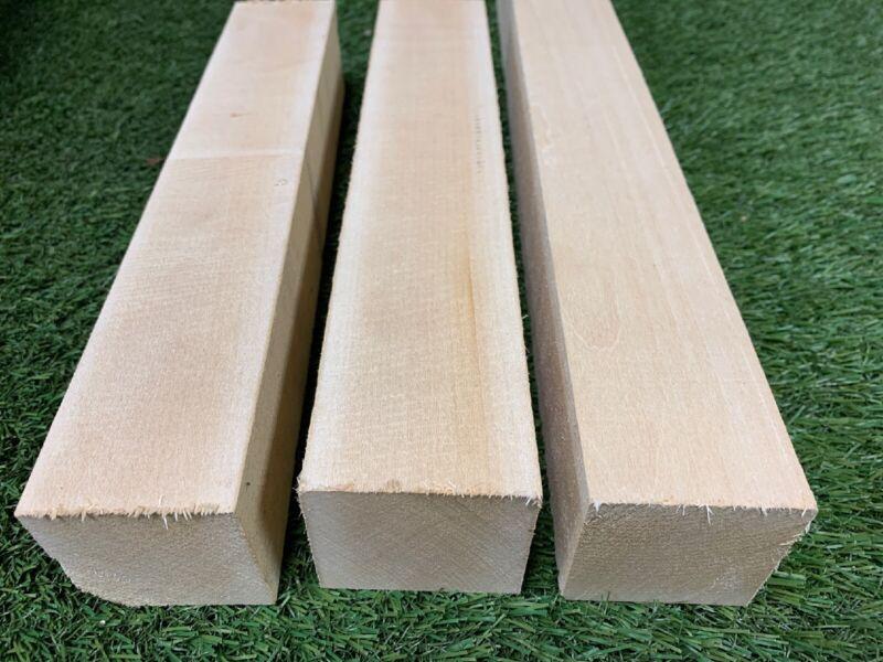 "(3)  LOT OF 3 PCS,  2"" x 2"" x 12""  Basswood Carving Wood Blocks Craft, Turning"