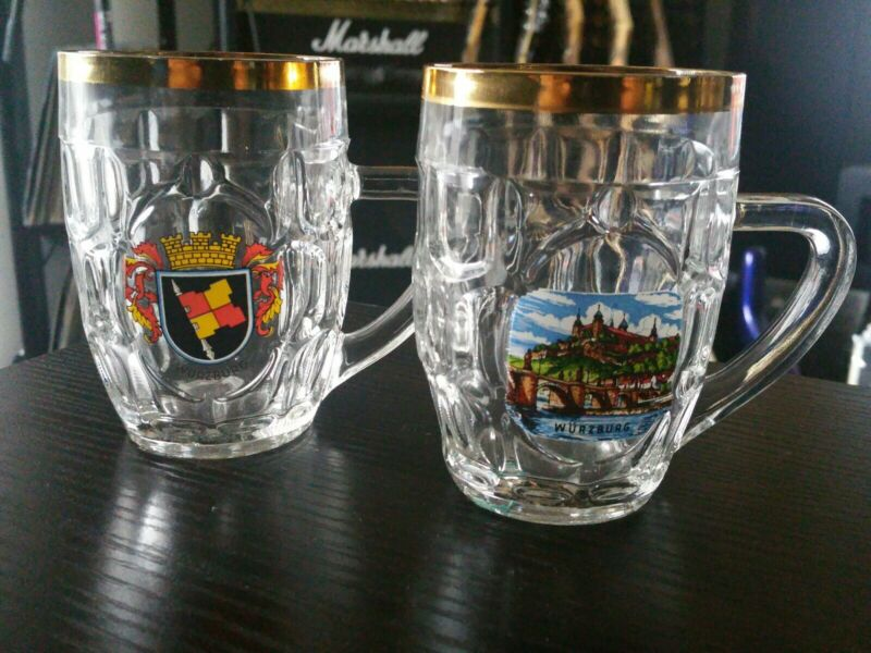 "2x Vintage Wurzburg Germany 3"" .25L Beer Glass Gold Rim, Mug, Stein, German"