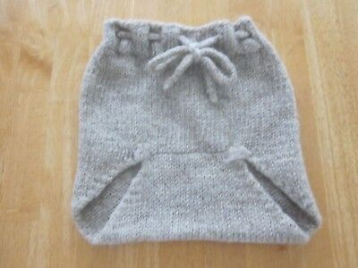 Knit Diaper Cover - Baby Diaper Cover Woolies Soaker Wool Hand Knit Tan Felted Lanolized 18