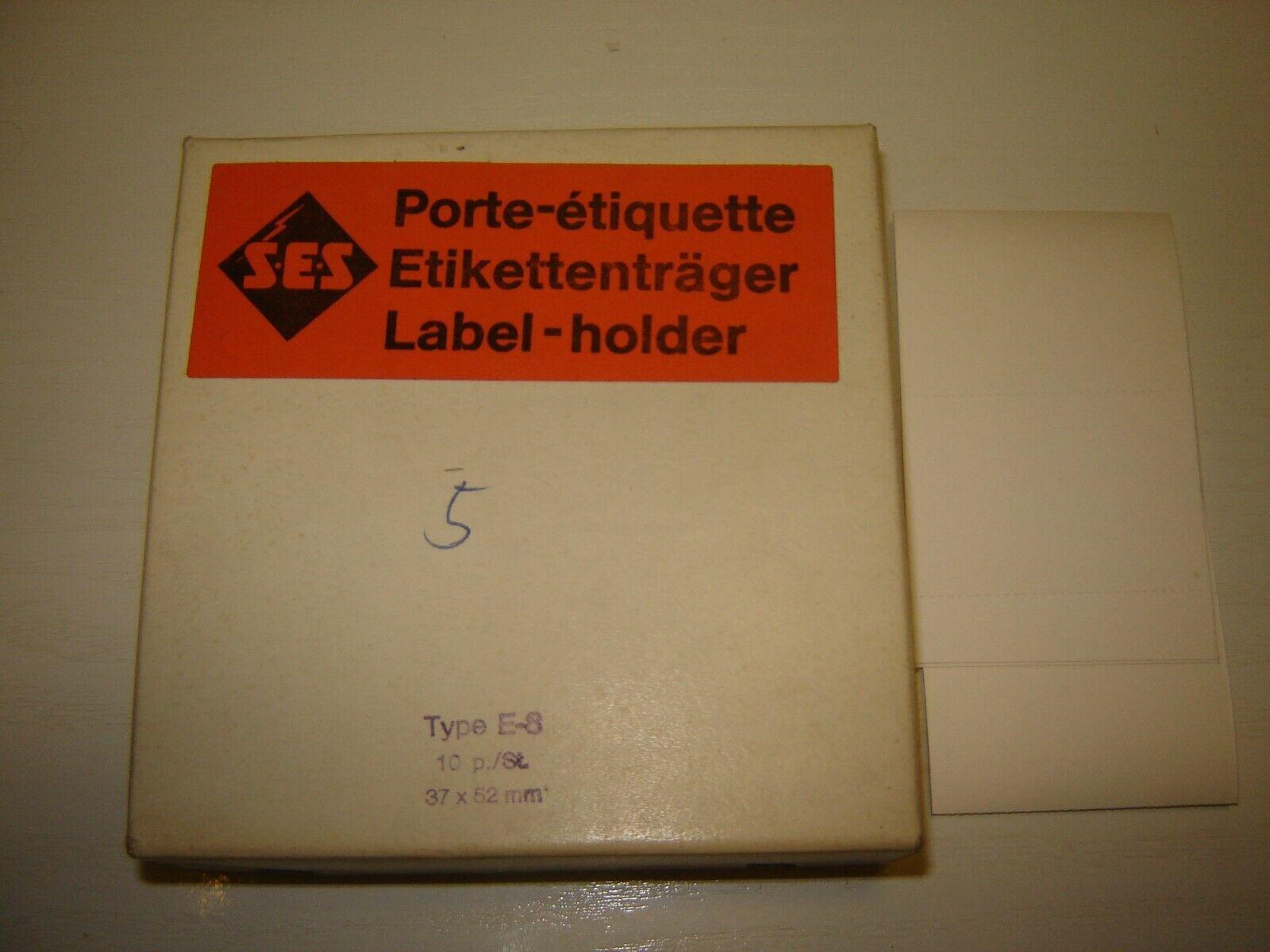 6 Etikettenträger SES  Kunststoff Typ E-8  37x52mm Neu