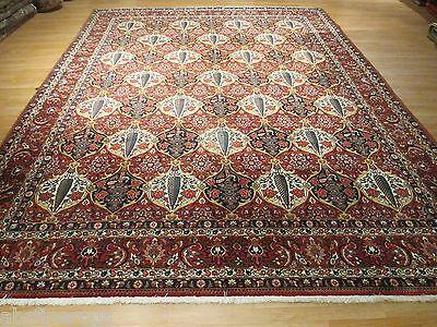 10x14 Fine Persian Bakhtiar Allover-pattern Handmade-knotted Wool Rug 580278