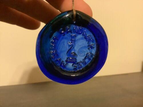 Small Cobalt blue Sandwich Glass Museum medallion
