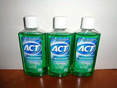 3 ACT Restoring Anticavity Fluoride Mouthwash Mint Burst 3oz Travel Size -