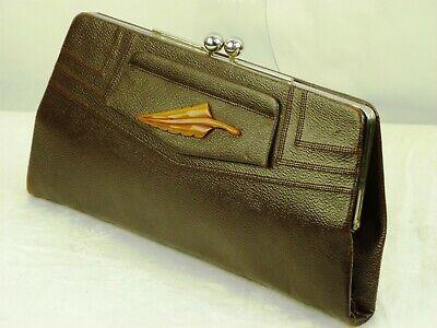 1940s Handbags and Purses History VINTAGE 1940s BAKELITE HANDBAG CLUTCH Purse Brown Leather, Bakelite Goliath Leaf $118.84 AT vintagedancer.com