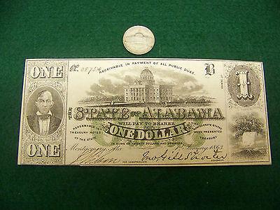 1863 $1 State of Alabama AL - nice Choice UNC note - FREE SHIP