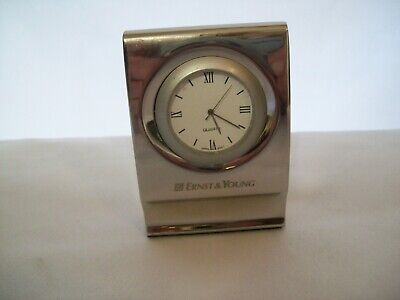 Heavy Chrome Plated Mini Quartz Desk Clock Ernst & Young Advertizing New Battery Chrome Plated Desk Clock