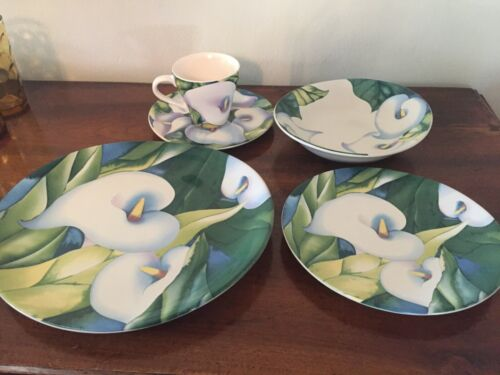 Mix & Match Sango Obsession Dishes Plates Bowls Cups - 4878 Green w/ White Lily