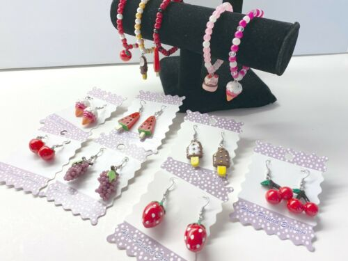 Fruit Earrings Bracelets Wholesale Lot 18 Free Shipping Cherry Watermelon Chocol