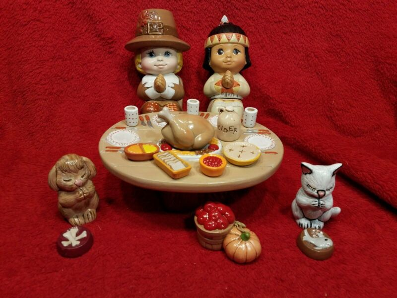 Hand Painted Ceramic Sweet Tots Thanksgiving Table Set Pilgrim Native Cat Dog