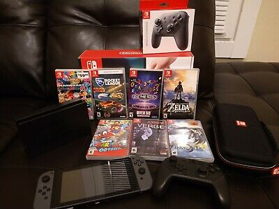 Nintendo Switch console bundle with 7 games and Pro controller