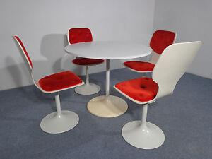 70er Jahre Tisch & 4 Stühle Tulip / Trompetenfuß Panton Ära