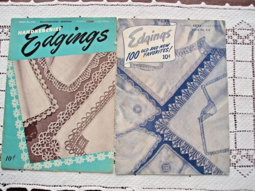 Booklets Lot of Two For Edging Handkerchiefs and Clothing By Clarks Vintage USA