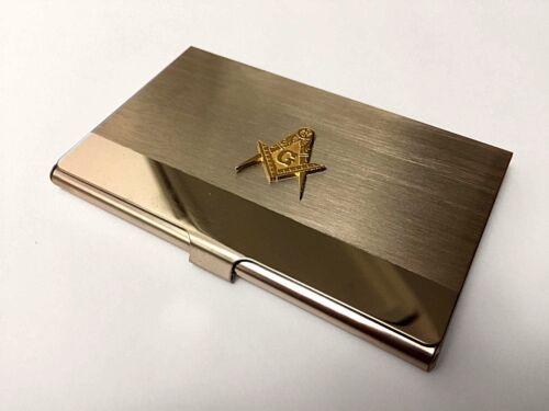 Masonic Business Card Holder Freemason Steel Gold Wallet ID Gift Metal Credit