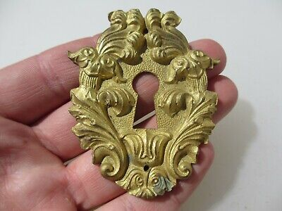 Antique Brass Escutcheon Keyhole Plate Victorian Old Georgian Rococo Baroque