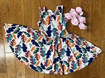 NWT Dot Dot Smile TANK Twirl Dress Summer blush Colorful leafs Print