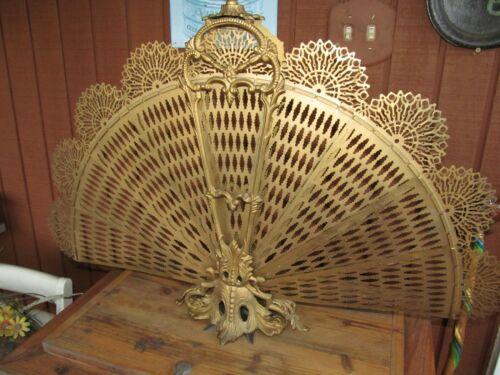 Vintage Brass Peacock Fan Fireplace Folding Screen