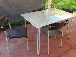 Outdoor Dining Setting, Frosted Glass Table and 4 x Chairs Leederville Vincent Area Preview