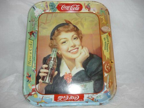 Vintage Coca-Cola Coke Serving Tray Menu Girl Advertising