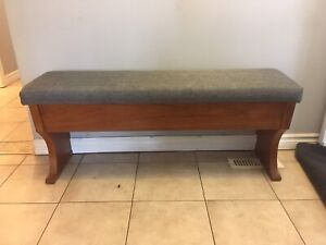 Teak hallway bench with storage- new upholstery - new condition!