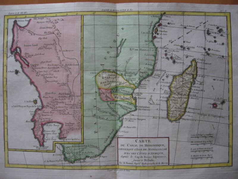 1780 - BONNE - Map SOUTH AFRICA  MOZAMBIQUE  MADAGASCAR