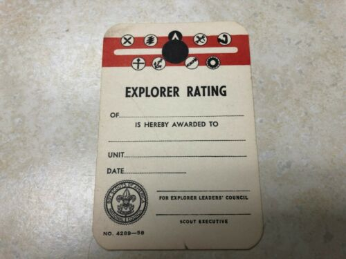1958 Boy Scout Explorer Rating Card - Unused
