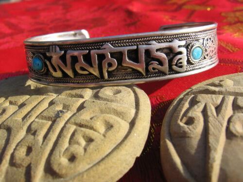 "TIBETAN BUDDHIST OM MANI MANTRA TURQUOISE FILIGREE CUFF BRACELET 1/2"" WIDE NEPAL"