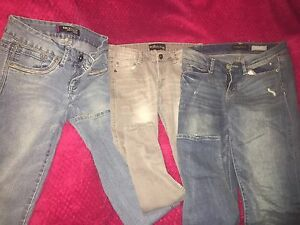 Three pairs of women's jeans