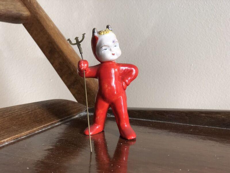Vintage RED Devil Figurine Metal Pitchfork ENESCO? Japan