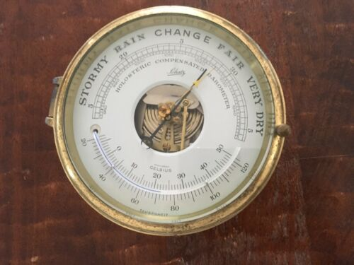 Schatz Holosteric Compensated Barometer/Thermometer Germany Brass