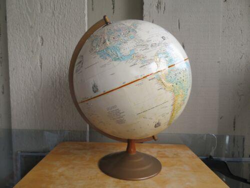 "Vintage World Globe 12"" Globemaster Replogle Raised Topography Metal Base"