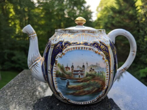Antique German Cobalt Blue & Gold Gilt 2 Cup Globular Teapot w/Victorian Scenes