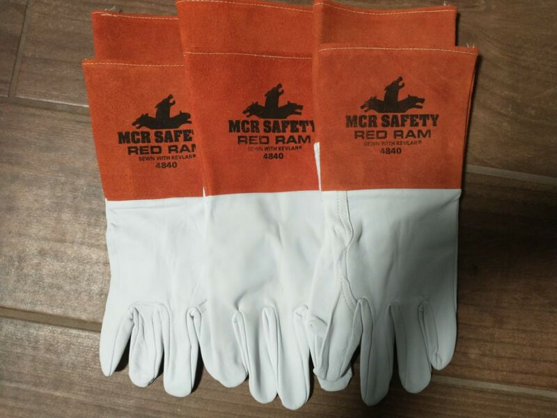 3-pair XL MCR Safety 4840 Red Ram Premium Grain Goatskin MIG/TIG Welding Gloves