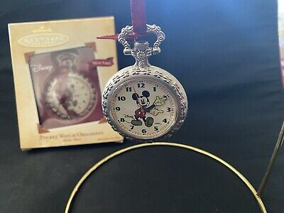 Disney Mickey Mouse Pocket Watch 2004 Hallmark Ornament Silver 1930's Nostalgia
