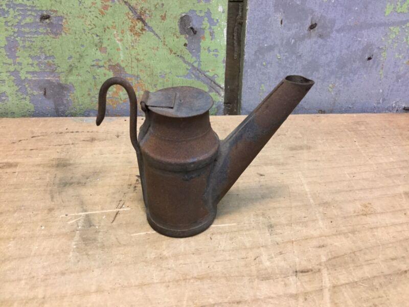 Antique Mining Oil Wick Teapot Lamp