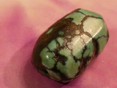 ANTIQUE TIBETAN NATURAL BLUE GREEN BLACK  TURQUOISE BEAD 15.7 BY 11 BY 8.1 MM