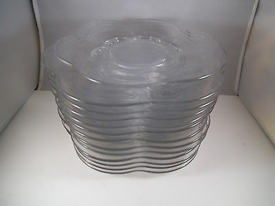 Vintage Set of 13 Duncan Miller Canterbury Blank Clear Glass Salad Lunch Plates