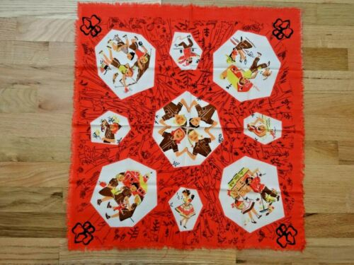 """Vintage Girl Scouts Red 22"""" Square Brownie Bandana or Scarf - Western Theme"""