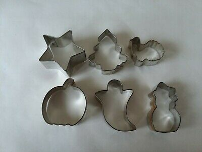 Set of 6 Small VTG Tin Cookie Cutters Christmas Halloween Pumpkin Tree Cat - Small Metal Halloween Cookie Cutters