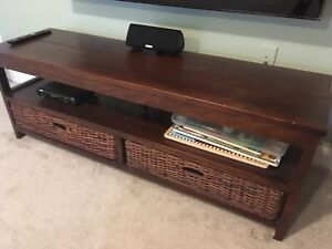 Wooden wicker emporium TV stand/console table set