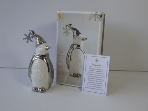 "Pier 1 Imports Porcelain 4"" Christmas Penguin Figurine White Silver Original Box"