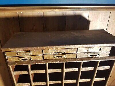 VINTAGE INDUSTRIAL METAL ENGINEERS CABINET 6 Drawers/48 Pigeon Holes