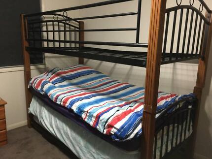 Black Metal and Timber Bunk Bed