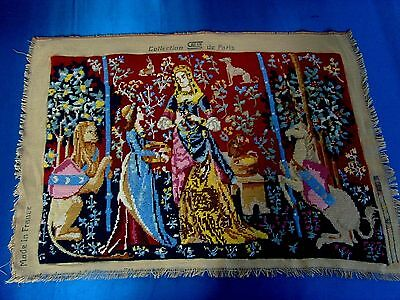 Vintage French Completed Needlepoint Tapestry Panel Medieval  Lady & Unicorn
