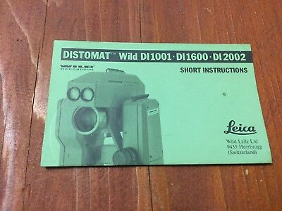 Wild Heerbrugg Leica Distomat Di1001 Di1600 Di2002 Short Instructions Surveyor