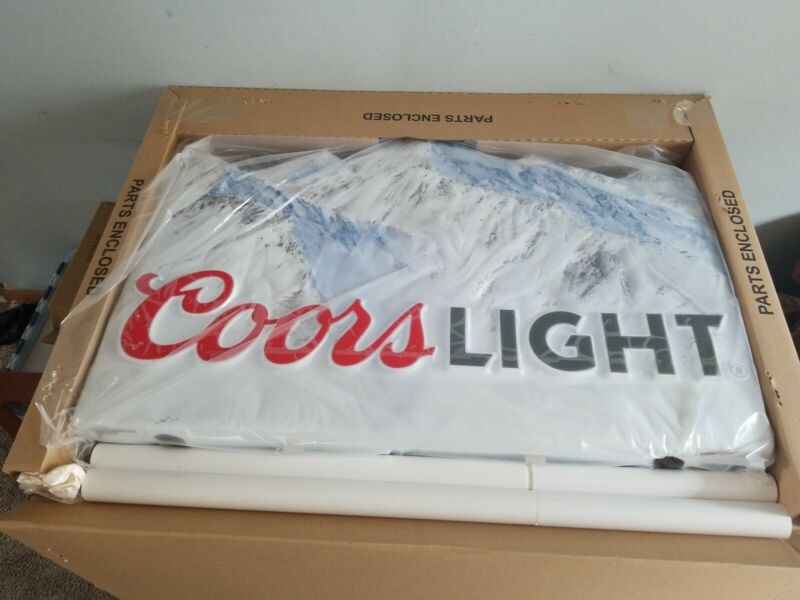 L@@K coors light beer snow cap mountains 3-D pole stacker bar game room sign