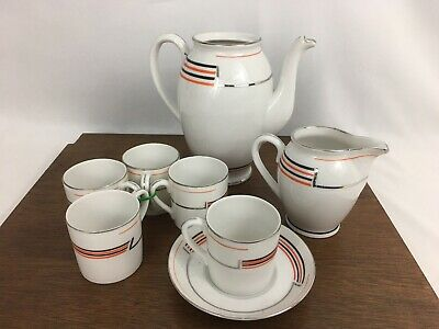 Vintage Mid Century Modern Tudor Tea Set Art Deco White Ceramic Porcelain