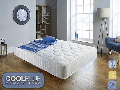 Memory Foam Sprung Mattress Cool Blue 3ft Single 4ft6 Double 5ft King 6ft SuperK