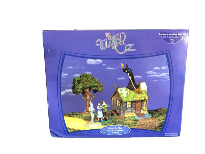"""DPT 56 WIZARD OF OZ  HALLOWEEN #56.59351 """"WANT TO PLAY SCARECROW"""" SET OF (3)"""